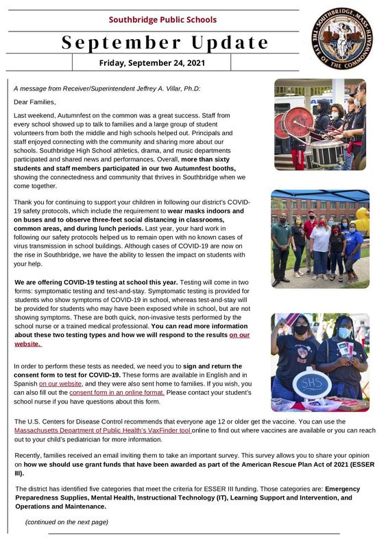 Page one of September 2021 newsletter in English