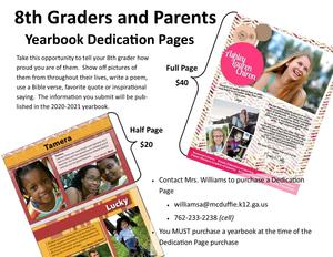 Dedication Page Information