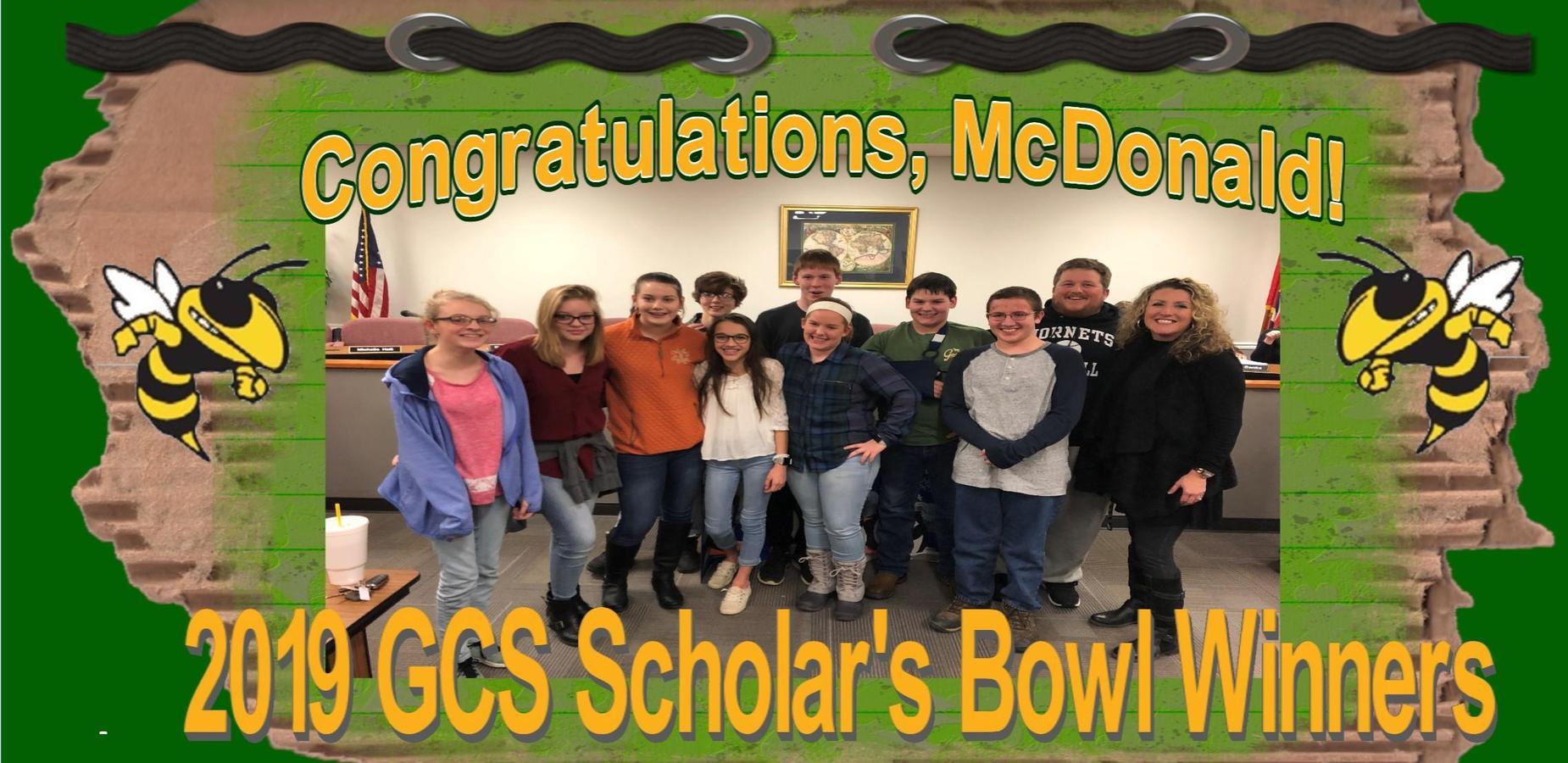 McDonald Hornets:  2019 GCS Scholar's Bowl Winners!