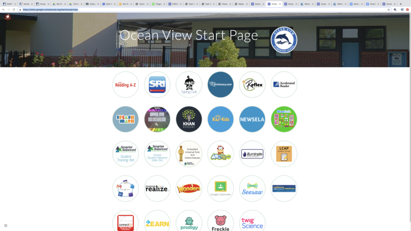 This picture is the start up page for Ocean View's students.  All of the apps are visible.