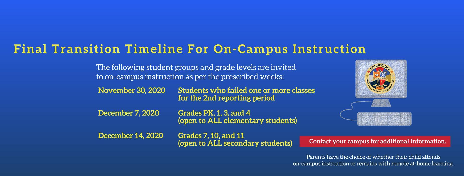Final Transition Timeline For On-Campus Instruction    The following student groups and grade levels are invited to on-campus instruction as per the prescribed weeks:  November 30, 2020 – Students who failed one or more classes for the 2nd reporting period December 7, 2020 – Grades PK, 1, 3, and 4 (open to ALL elementary students) December 14, 2020 – Grades 7, 10, and 11 (open to ALL secondary students)  Contact your campus for additional information.  Parents have the choice of whether their child attends on-campus instruction or remains with remote at-home learning.