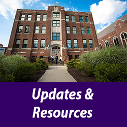 photo of OLSH school building with text Updates and Resources