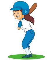 Clip art of girl playing softball