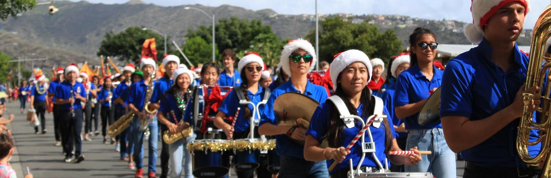 Cougar band in holiday parade