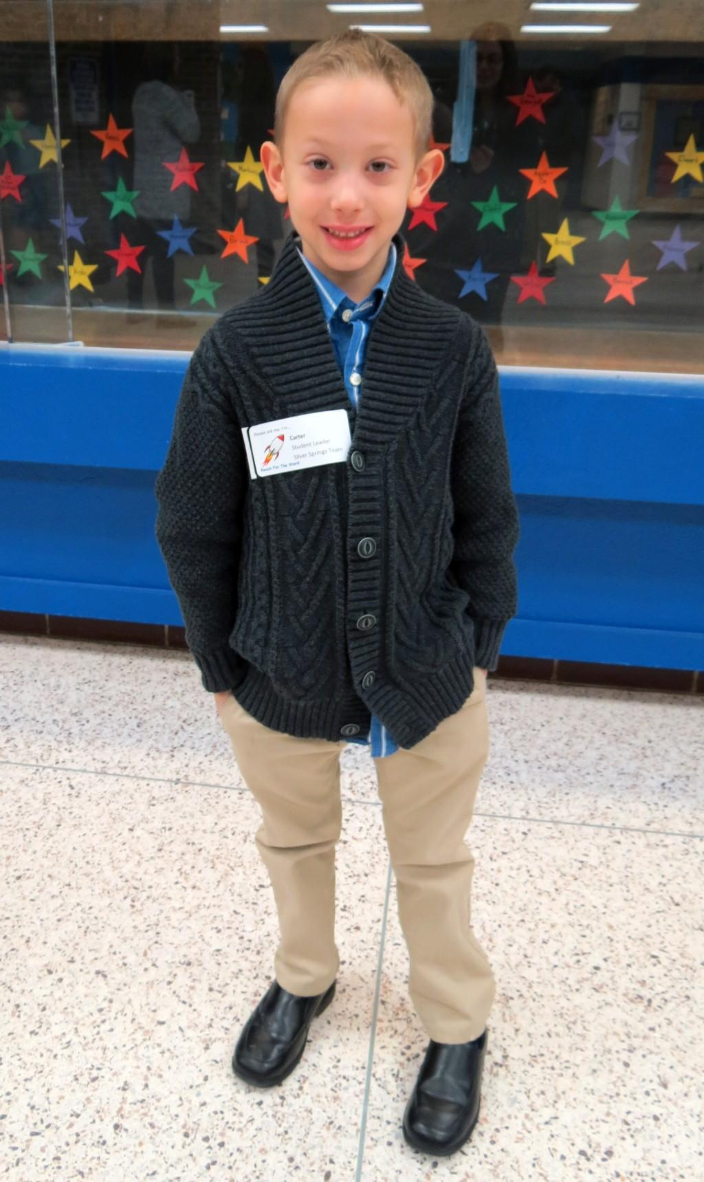 First Grade student on Leadership day