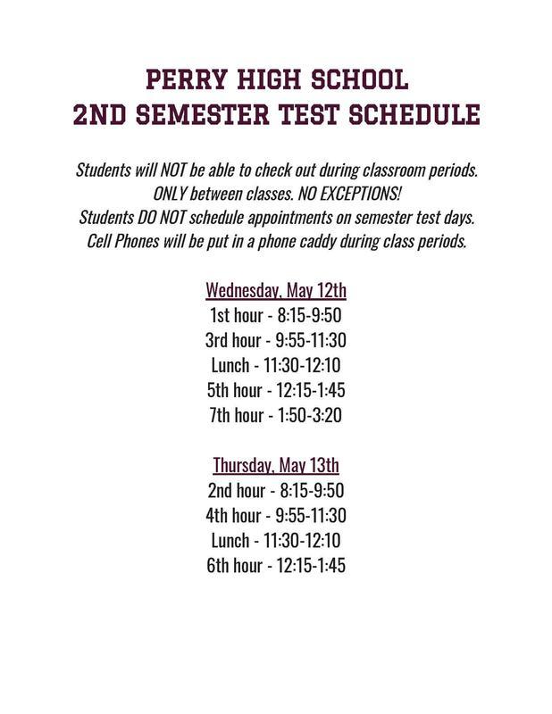 High School Semester Test Schedule