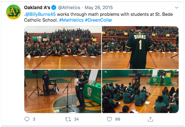 Billy Burns from the Oakland A's visits St. Bede.