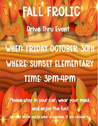 Fall Frolic Drive-Thru Event, Friday October 30th from 3:00-4:00 PM Thumbnail Image