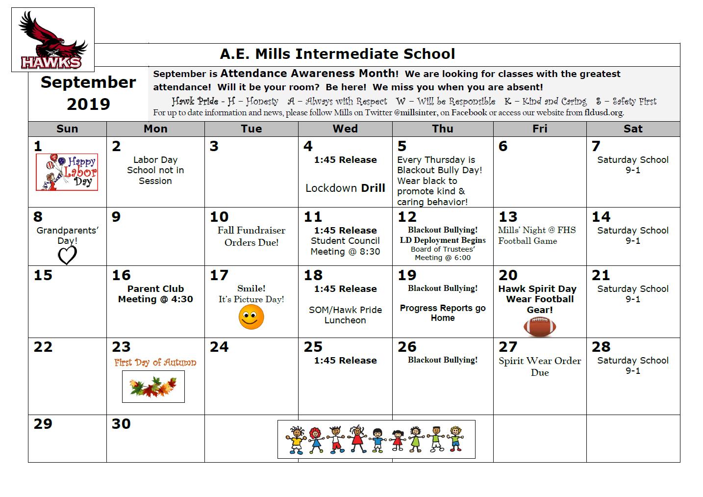 Sept. student calendar