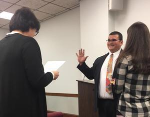 picture of Mr. Breen sworn in