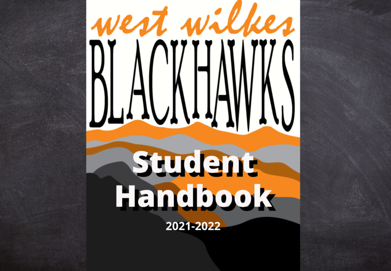 Blackhawks logo with mountains in the background and the words student handbook 2021-2022