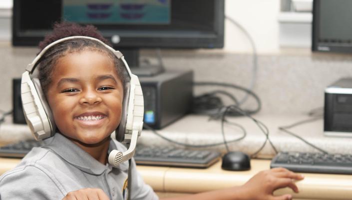 students wearing headphones