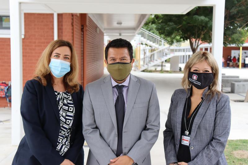 Photo of (from left): LACOE Superintendent, Dr. Debra Duardo; Durfee Principal Gerardo Yepez; LACOE Deputy Superintendent, Dr. Maria Martinez-Poulin