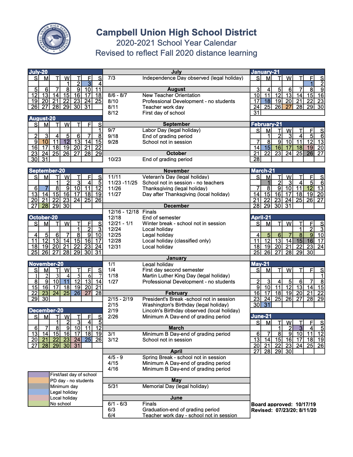Revised Academic Calendar SY 2020-2021