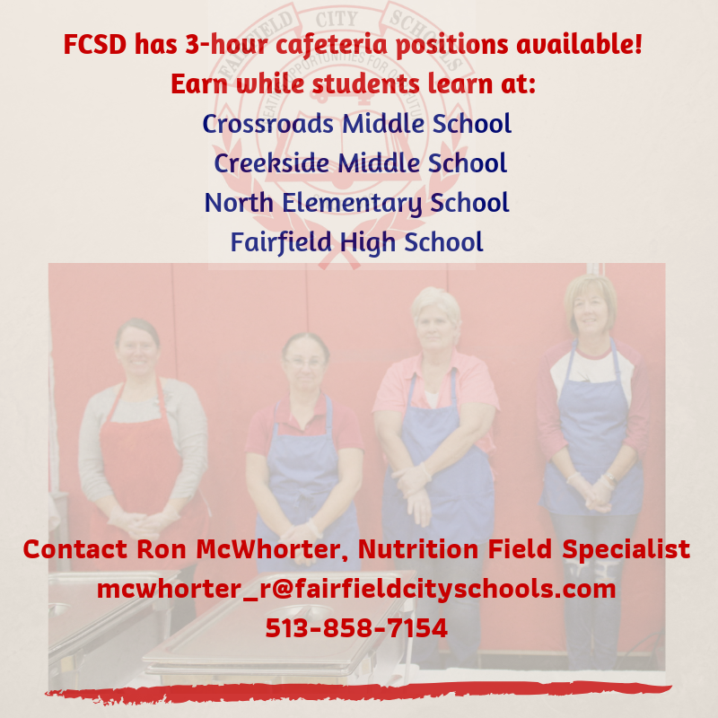 FCSD Seeking Applicants for 3-Hour Food Service Positions Featured Photo