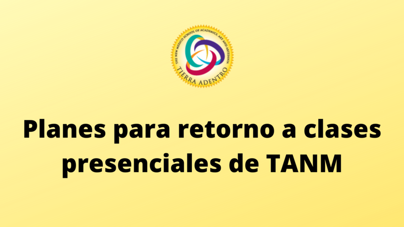TANM round logo on yellow background with text in Spanish