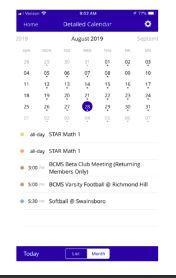 A snapshot of the mobile calendar app