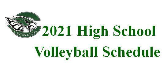2021 High School Volleyball Schedule
