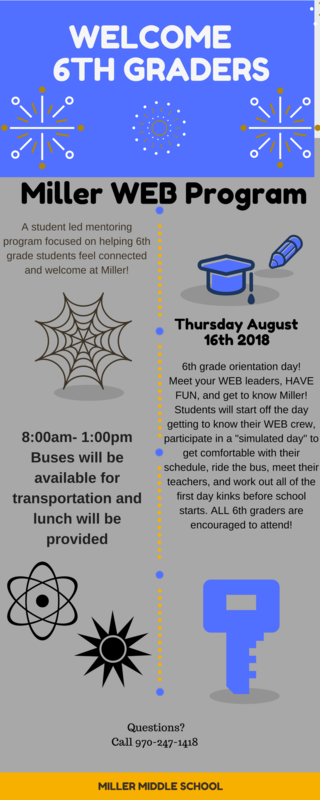 Information sheet about WEB day at Miller Middle School.