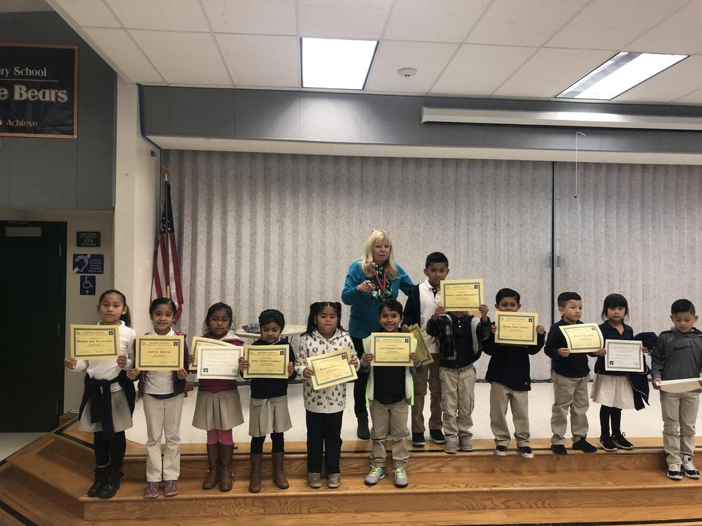 trimester one award winners in Ms. Kittl's class pose for picture