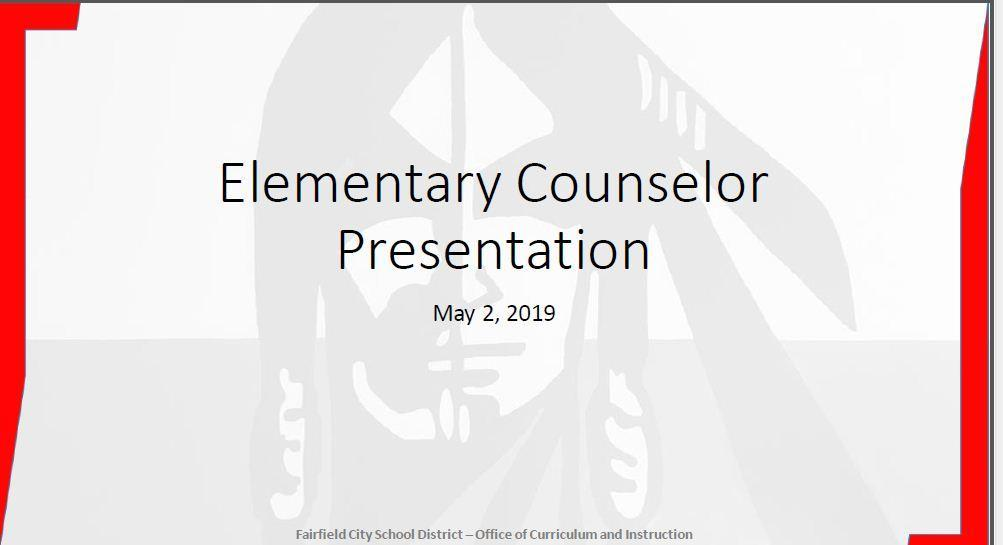 Image of the title slide for the Elementary Counselors Presentation. It is just that wording.
