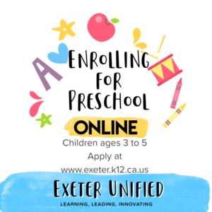 Enroll for preschool flyer 2020-2021 school year