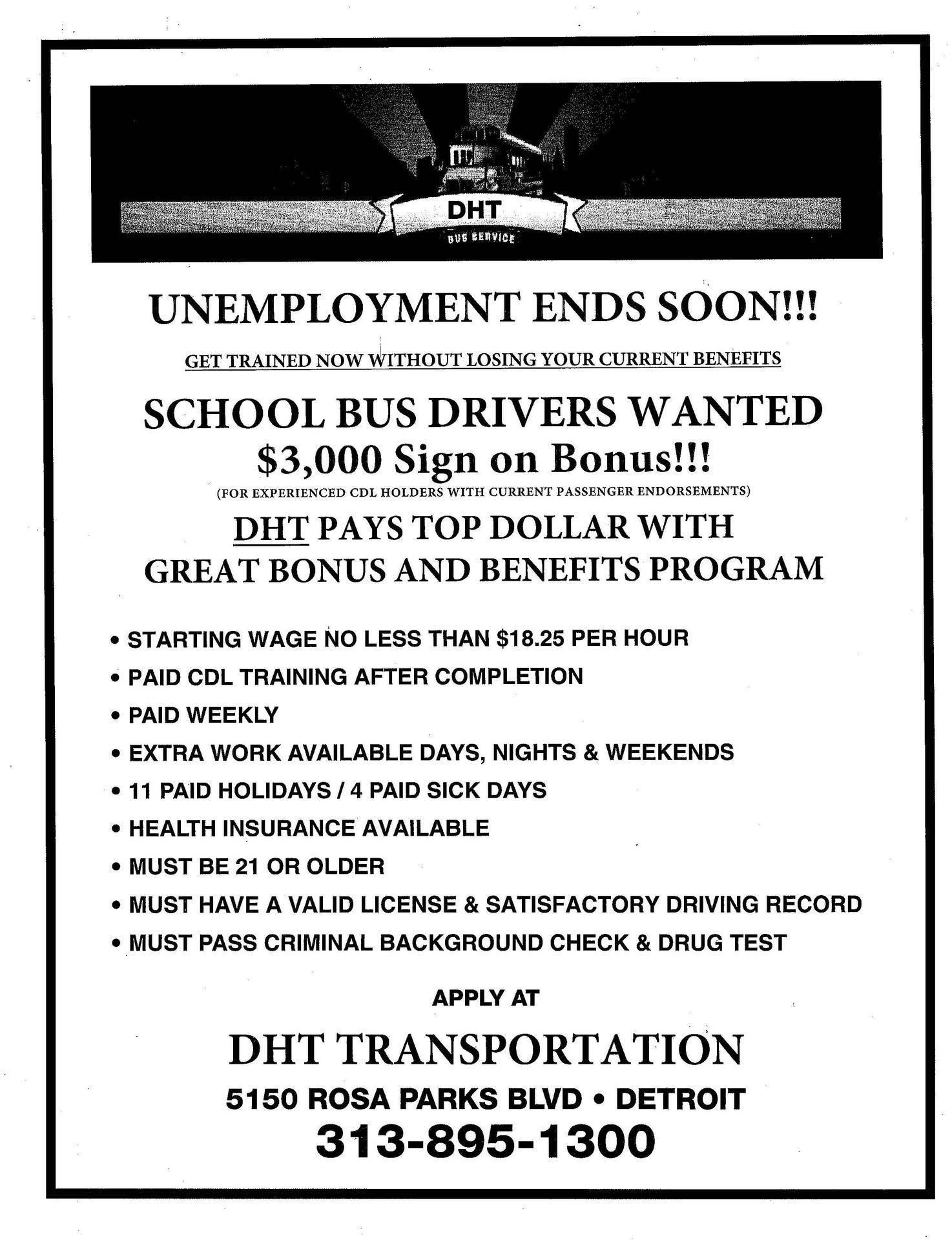 DHT is Hiring Bus Drivers Apply today