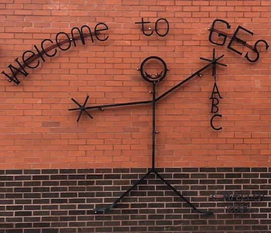 """Picture of elementary school sign that says """"Welcome to GES"""""""