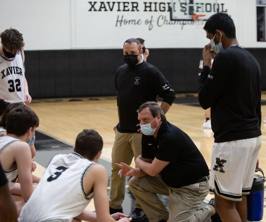 Xavier Basketball Coach Mike Kohs and his team