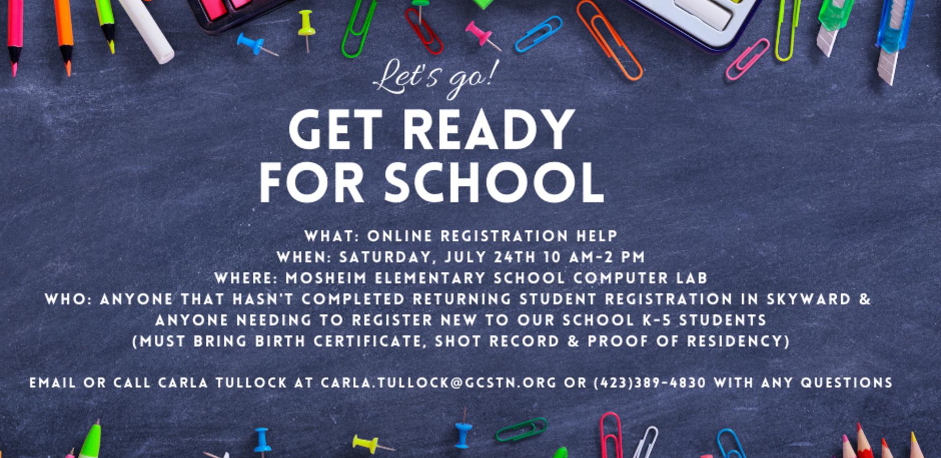 Online registration help July 24th