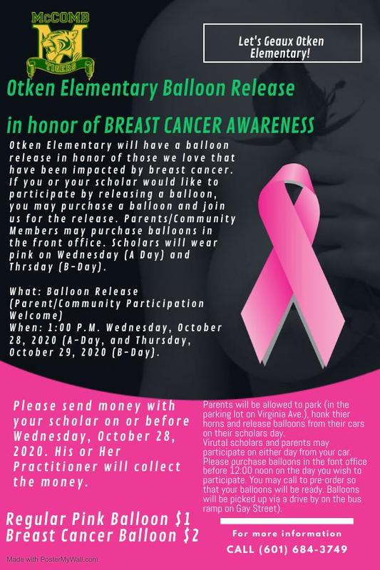 Otken Elementary balloon release in honor of Breast Cancer Awareness 2020