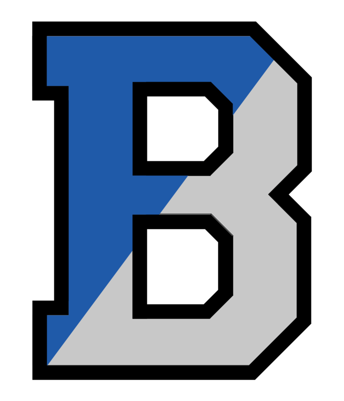 Bensalem Township School District logo, B. Left side of B is blue and right side is gray, outlined in black..