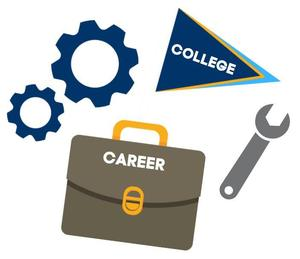 gears, wrench, briefcase, and college flag