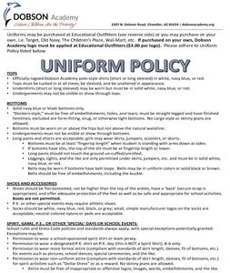 Uniform Policy for 2018-2019