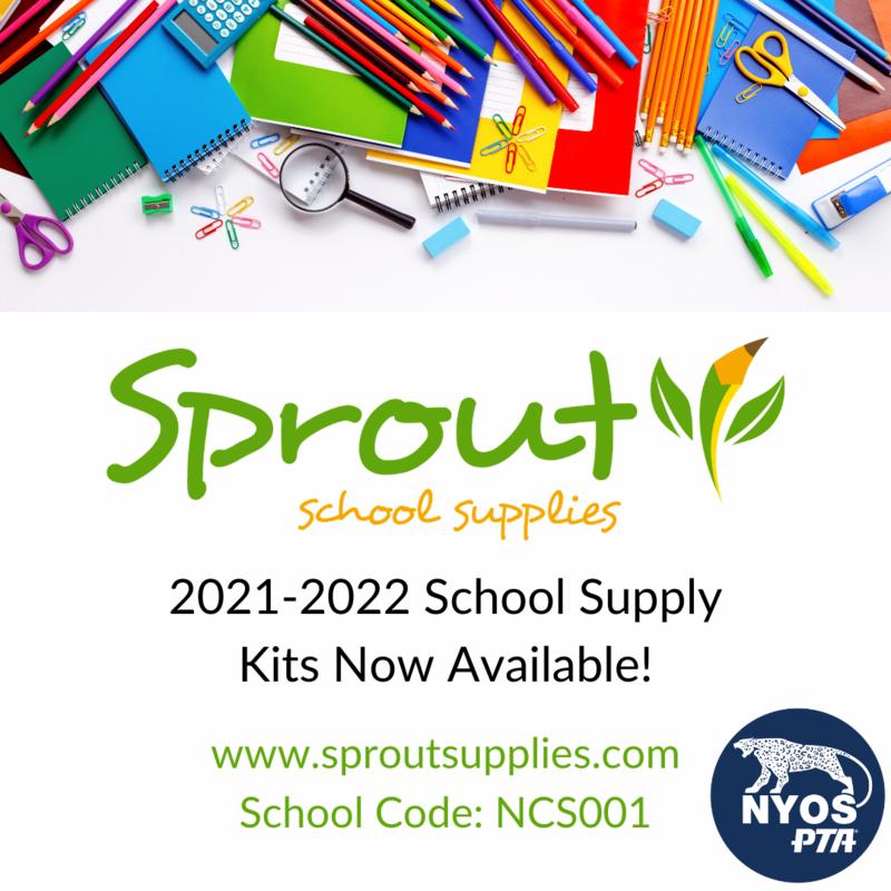 Assorted school supplies (folders, scissors, pencils, etc.) above the words