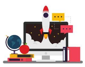 Computer with rocketship, globe, and books.