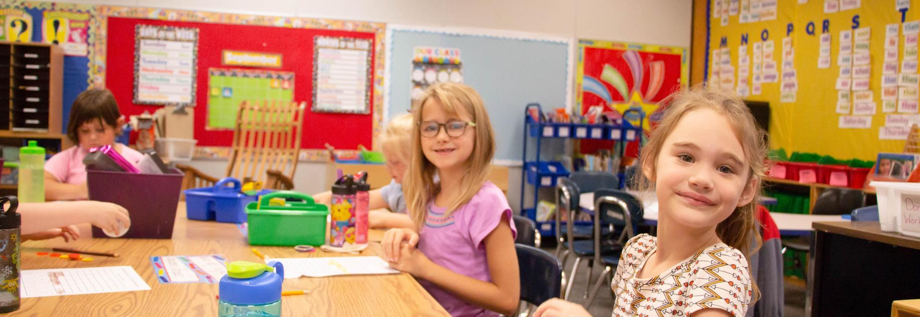 1st graders in a classroom