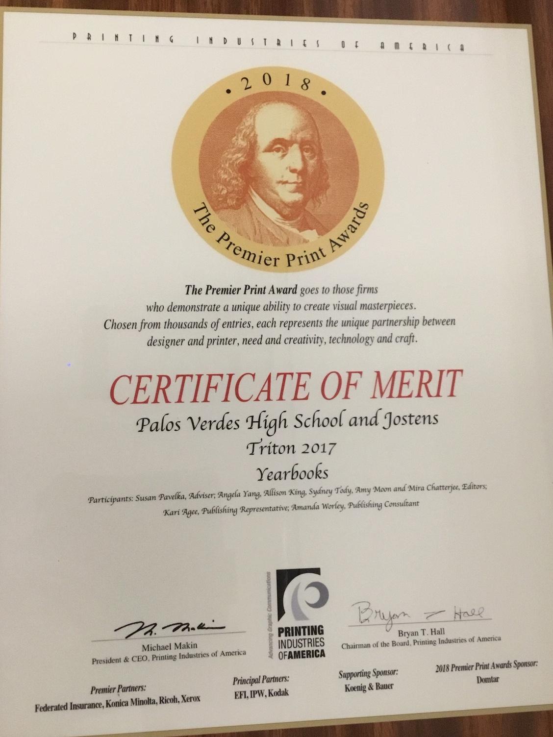 Premier Print Award 2018 Given to Triton Yearbook