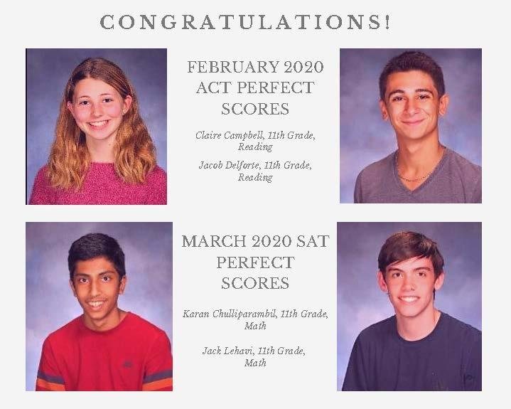 Photo collage of four WHS students who received perfect scores on Feb ACT and/or March SAT.
