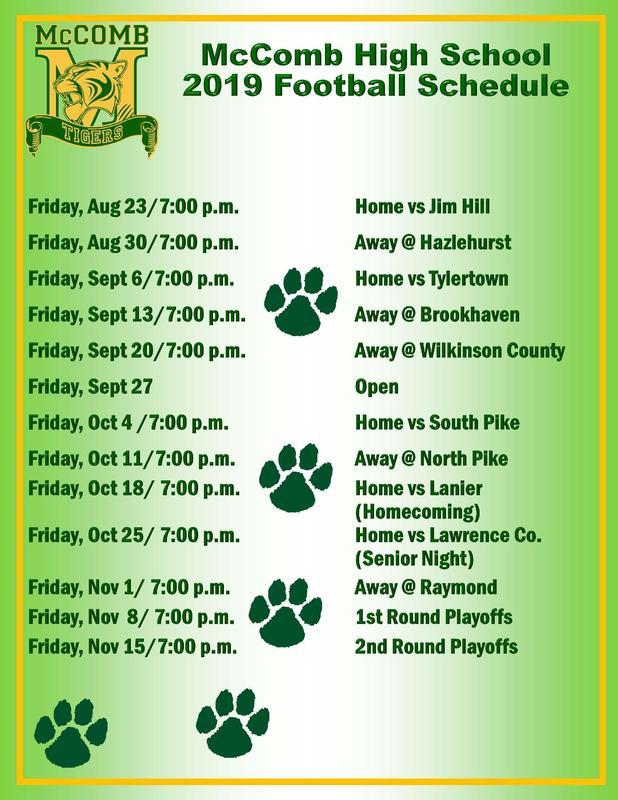 McComb High School Football Schedule 2019