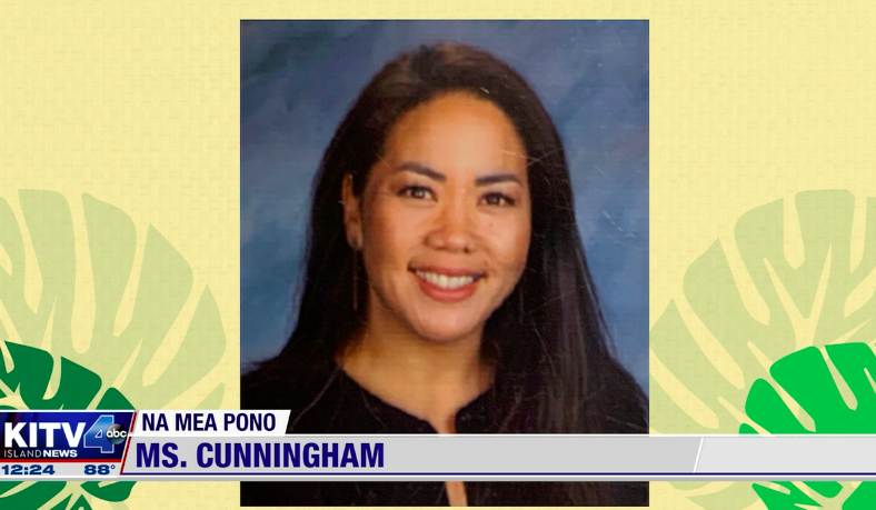 picture of Ms. Cunningham being recognized on KITV4