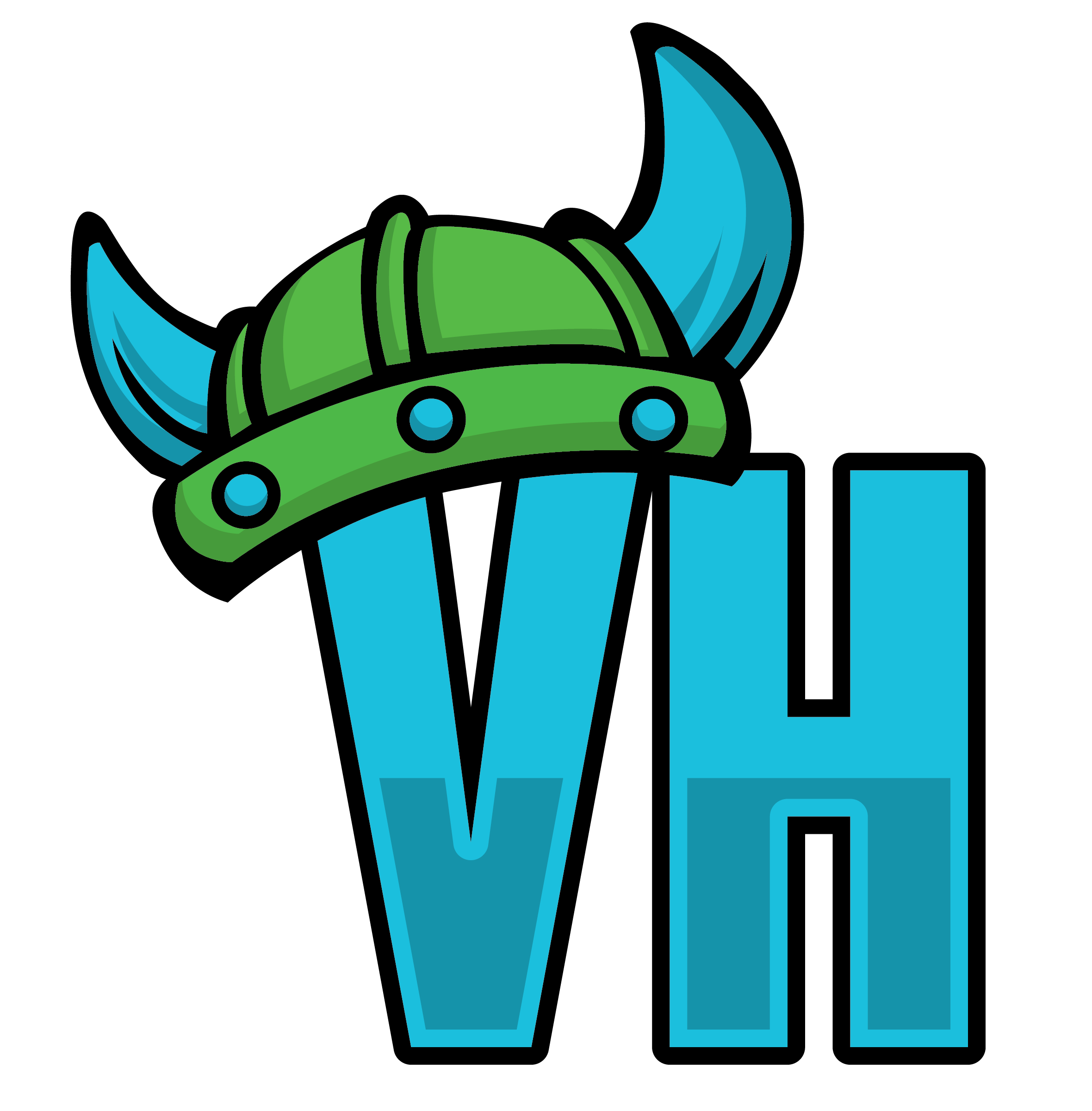 Letters V and H wearing a viking hat.