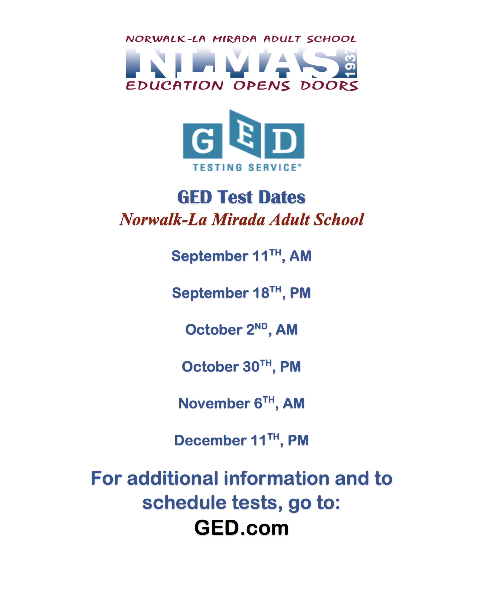 GED Test Dates for Fall 2018