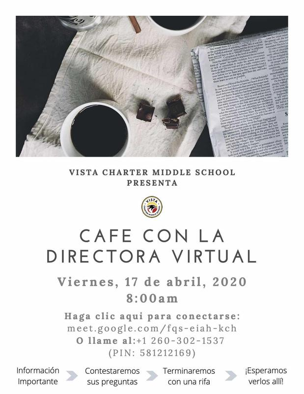 Cafe con la directora virtual flyer