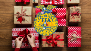 FFA Logo on image of gifts being wrapped
