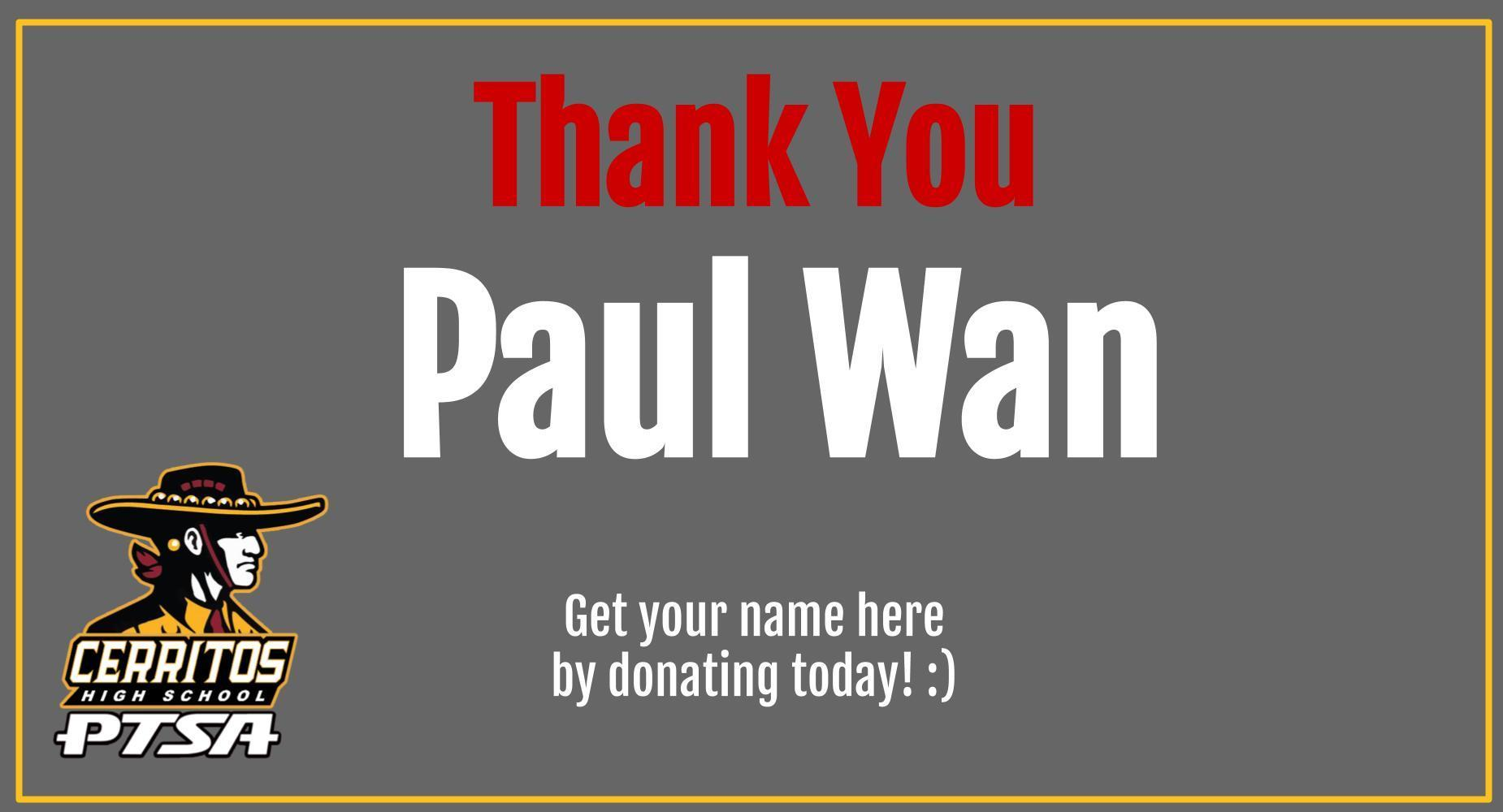 Thank you Paul Wan!