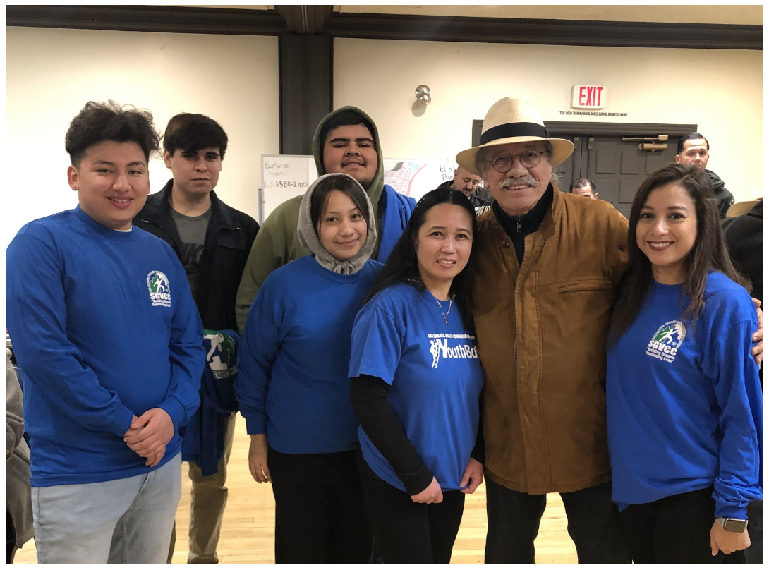 El Monte students and staff with Edward James Olmos