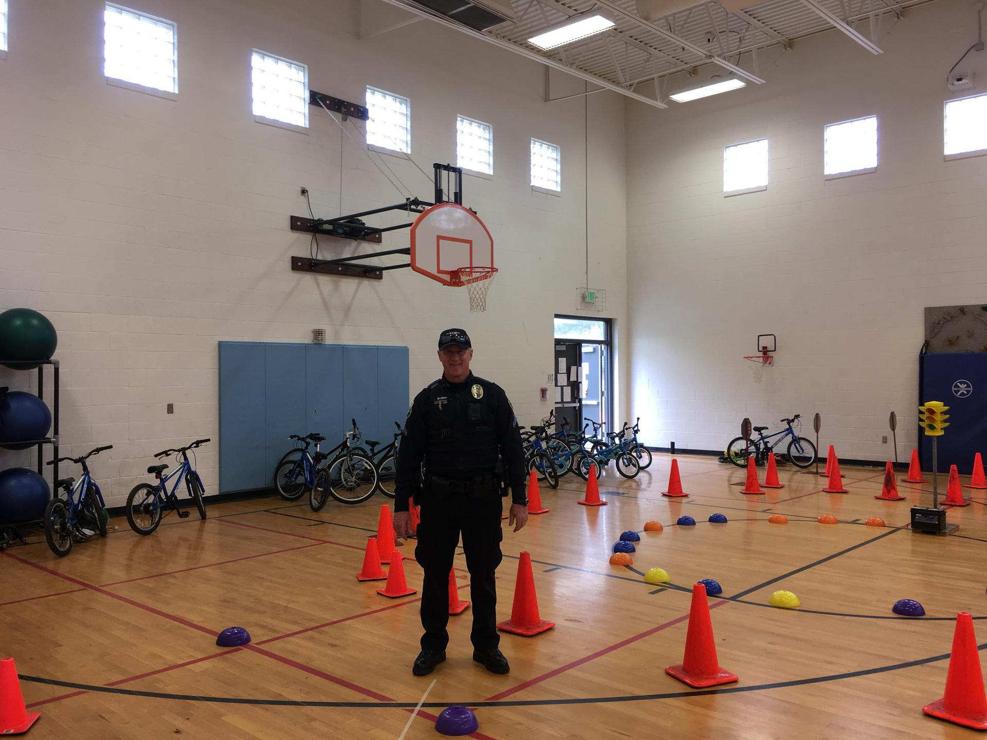 Officer at bike rodeo