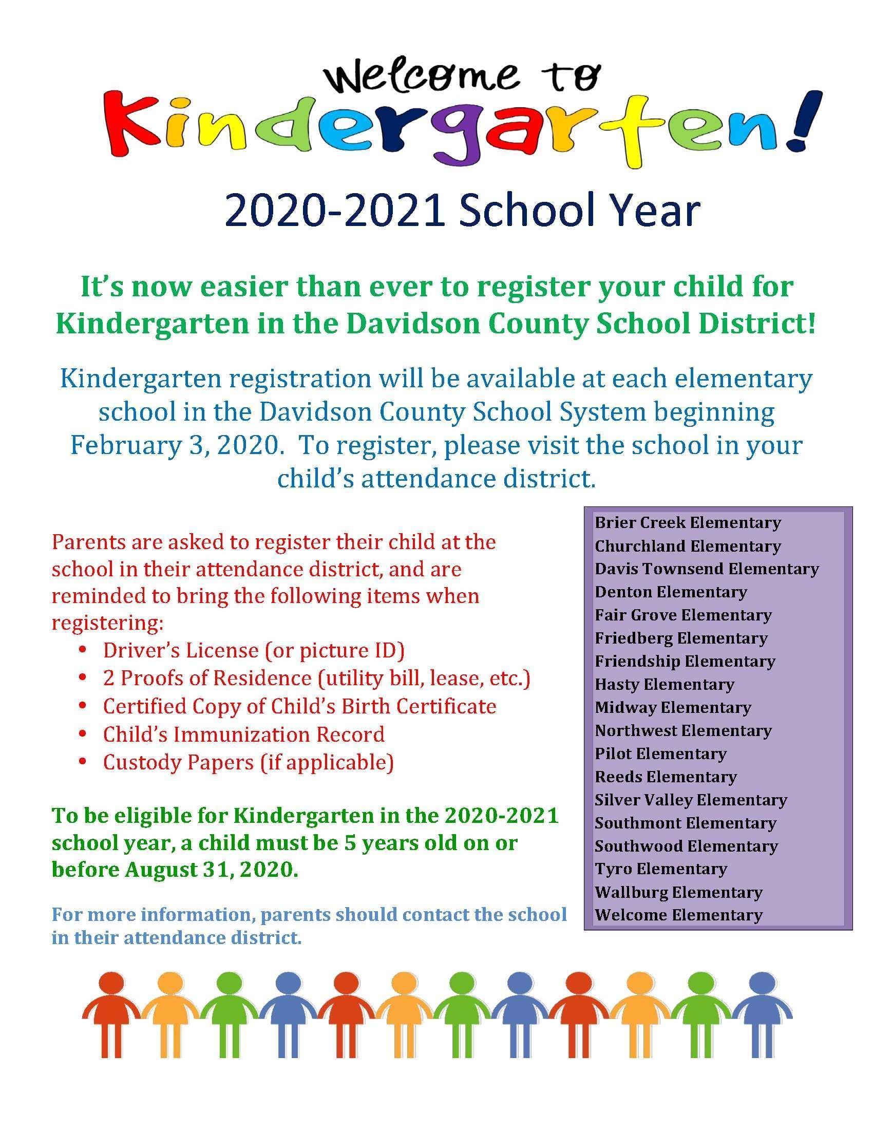 Kindergarten Registration Information.