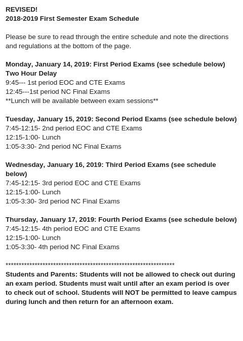 REVISED Exam Schedule with Monday's 2-Hr. Delay Thumbnail Image